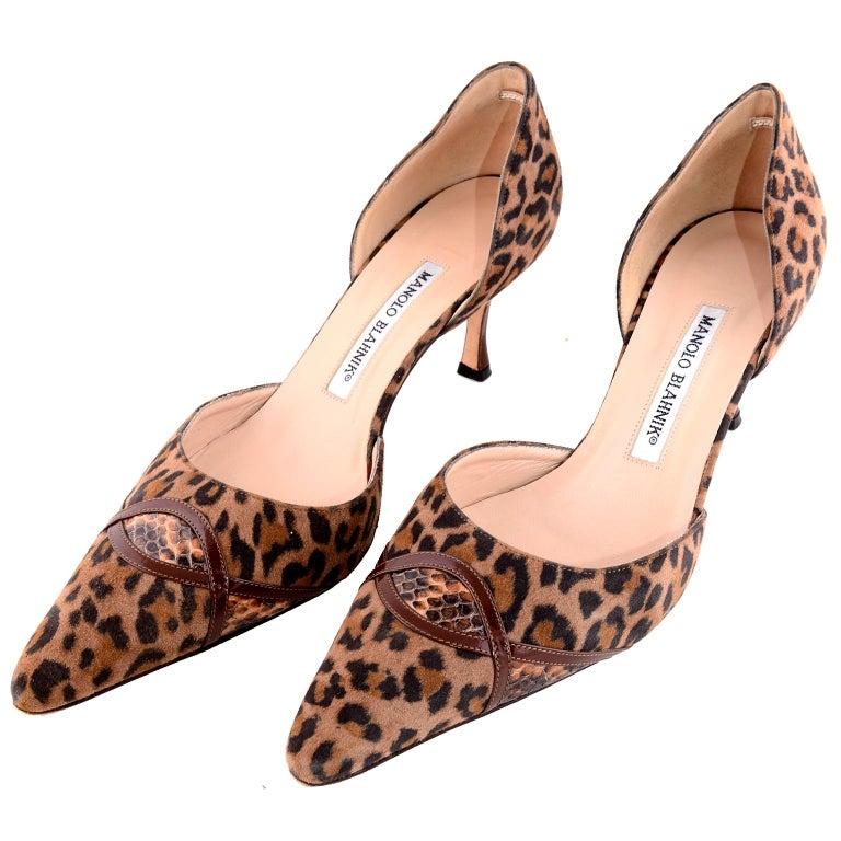 159916891e Manolo Blahnik Heels in Leopard Pony Fur W/ Snakeskin Trim Shoes 38.5 For  Sale