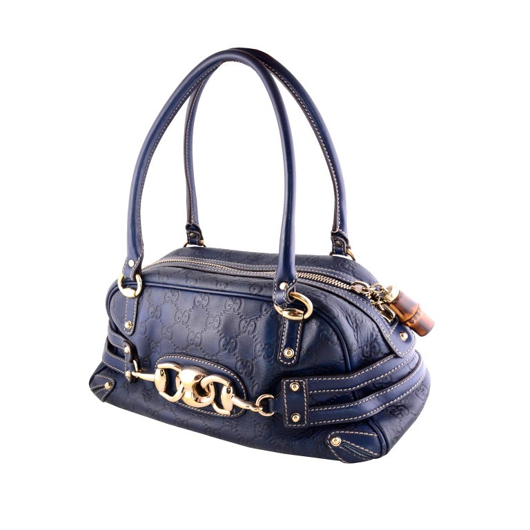 Gucci Guccissima Blue Leather Wave Boston Bag Bamboo Zipper Pulls In Excellent Condition For