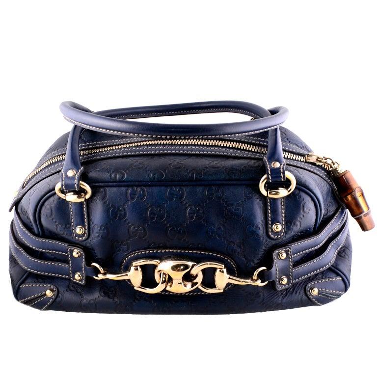 f16d61ba175 Gucci Guccissima Blue Leather Wave Boston Bag Bamboo Zipper Pulls For Sale 5
