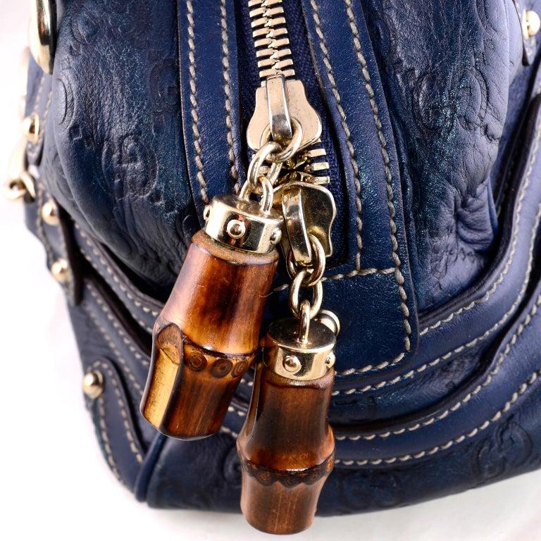 f30a7764f39 Black Gucci Guccissima Blue Leather Wave Boston Bag Bamboo Zipper Pulls For  Sale