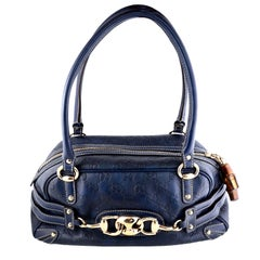 Gucci Guccissima Blue Leather Wave Boston Bag Bamboo Zipper Pulls