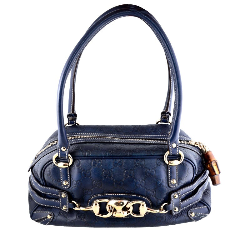 168ba532df9 Gucci Guccissima Blue Leather Wave Boston Bag Bamboo Zipper Pulls For Sale