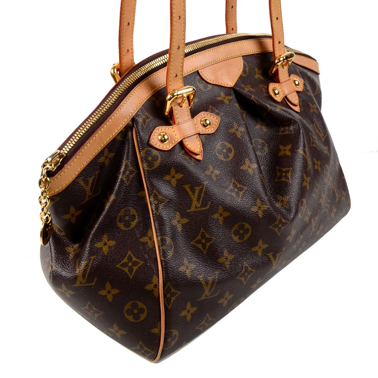 Black Louis Vuitton Monogram Handbag Dark Brown Tivoli Bag With Leather Trim For