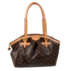 Louis Vuitton Monogram Handbag Dark Brown Tivoli Bag With Leather Trim