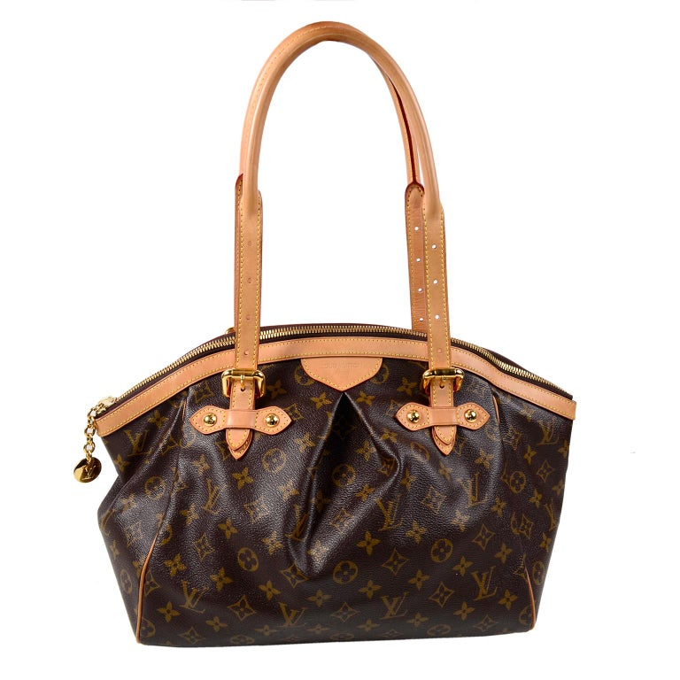 e68d7d27ea72 Louis Vuitton Monogram Handbag Dark Brown Tivoli Bag With Leather Trim For  Sale