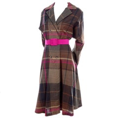 Utah Tailoring Mills Designer Vintage Dress in Pink and Brown Plaid Wool, 1980s