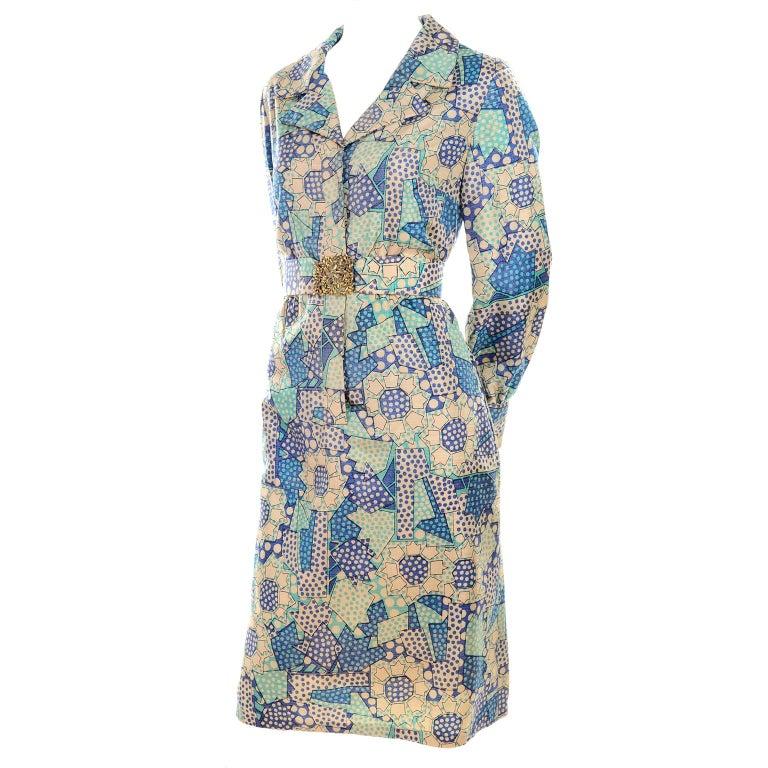 Blue Polka Dot Floral Patchwork Print Vintage silk Shirt Dress, 1970s  For Sale