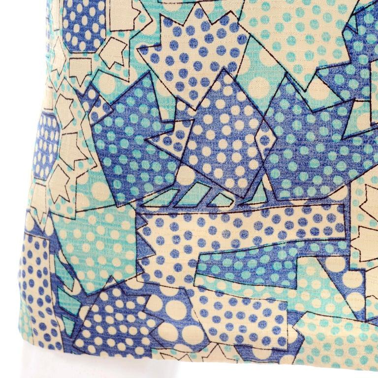 Blue Polka Dot Floral Patchwork Print Vintage silk Shirt Dress, 1970s  For Sale 2