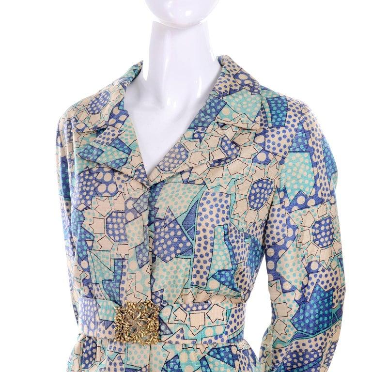 Gray Blue Polka Dot Floral Patchwork Print Vintage silk Shirt Dress, 1970s  For Sale
