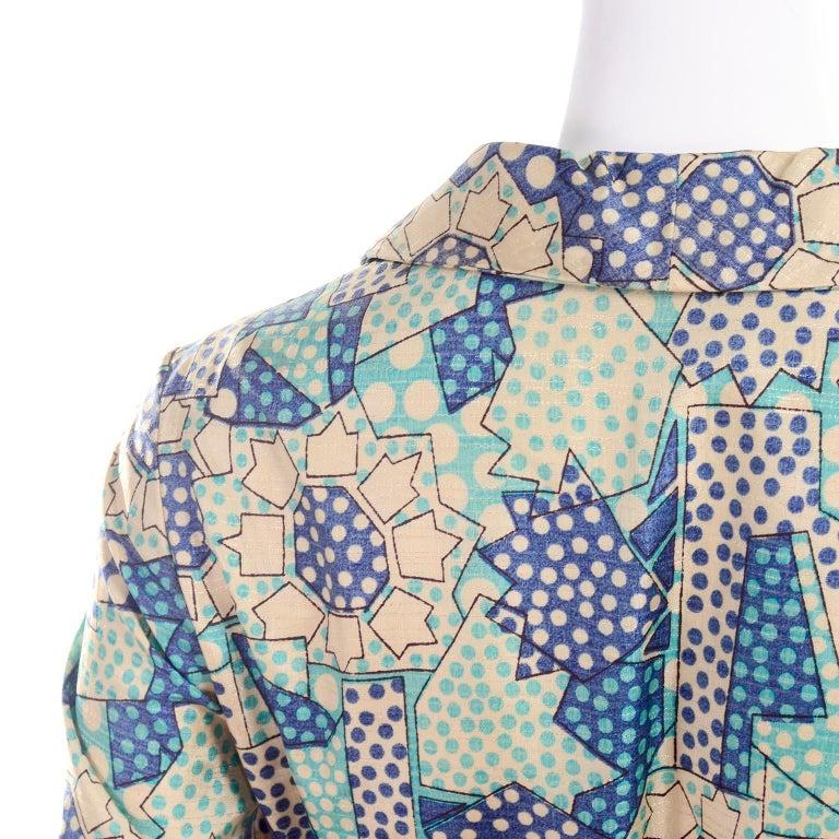 Blue Polka Dot Floral Patchwork Print Vintage silk Shirt Dress, 1970s  For Sale 4