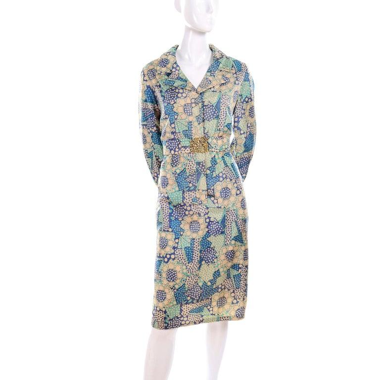 Blue Polka Dot Floral Patchwork Print Vintage silk Shirt Dress, 1970s  For Sale 1