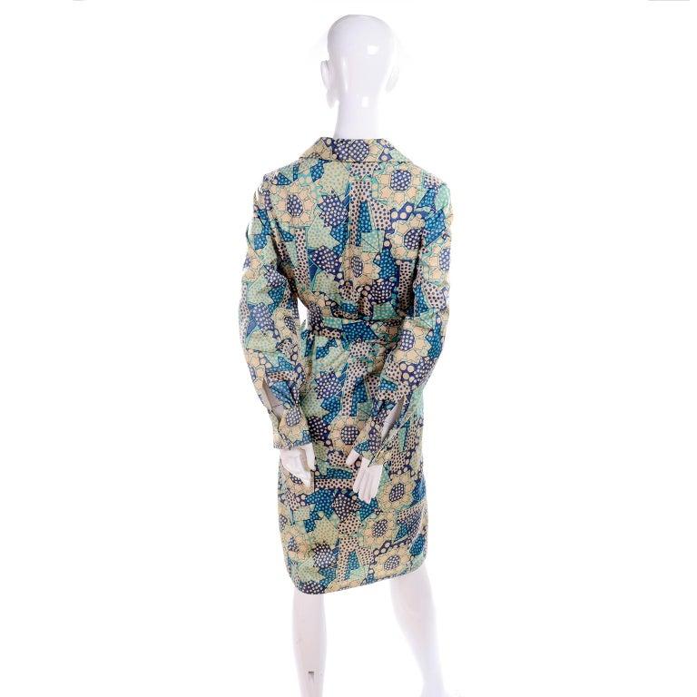 Blue Polka Dot Floral Patchwork Print Vintage silk Shirt Dress, 1970s  For Sale 5