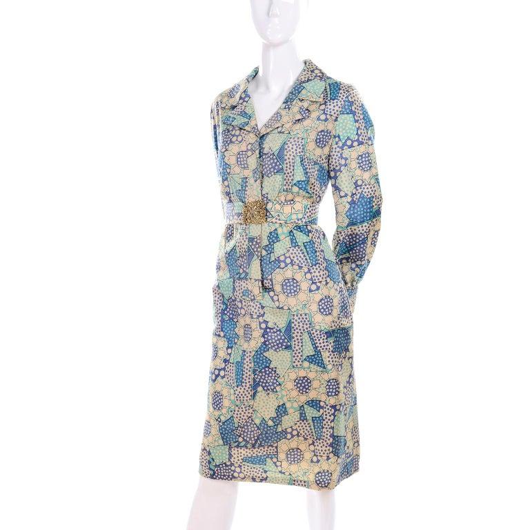 Blue Polka Dot Floral Patchwork Print Vintage silk Shirt Dress, 1970s  For Sale 6