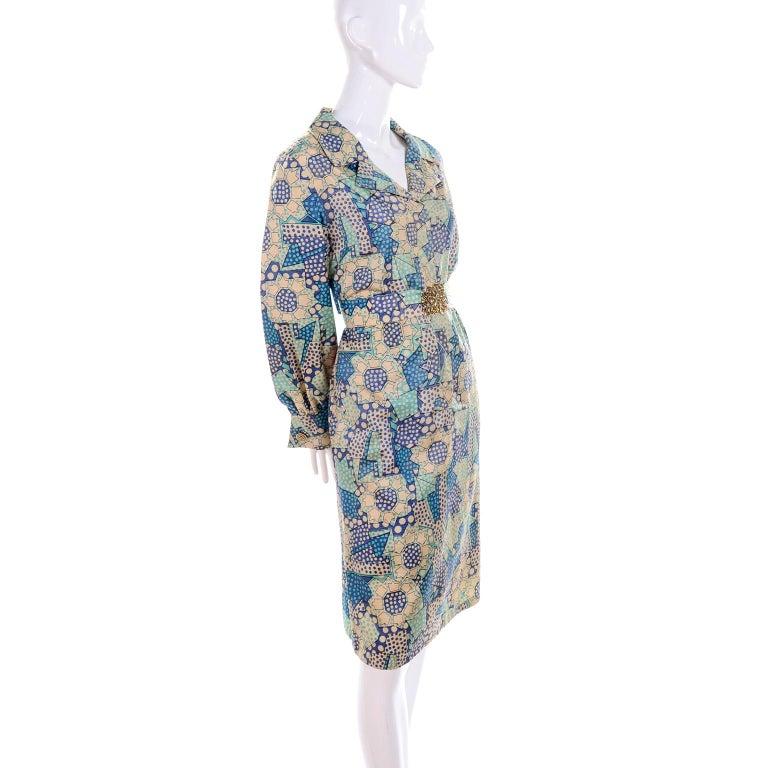 Blue Polka Dot Floral Patchwork Print Vintage silk Shirt Dress, 1970s  For Sale 7