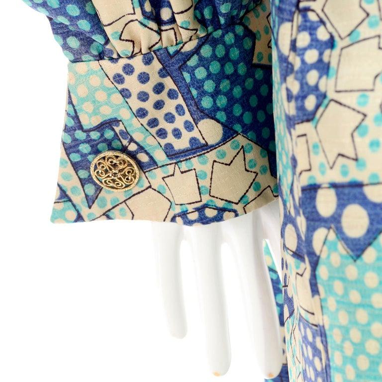Women's Blue Polka Dot Floral Patchwork Print Vintage silk Shirt Dress, 1970s  For Sale