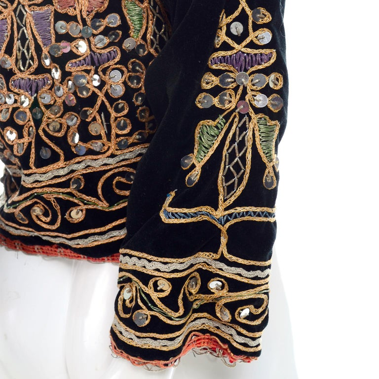 Black Velvet Gold And Silver Metallic Embroidery And Paillettes