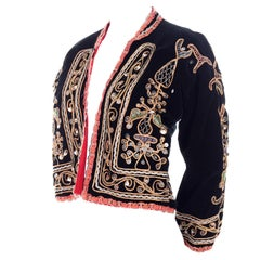 Black Velvet Gold and Silver Metallic Embroidery and Paillettes Vintage Jacket