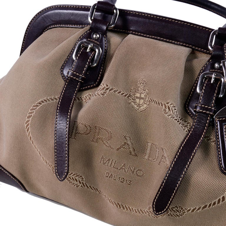 Women's Prada Brown Jacquard Canvas and Leather Doctor Style Handbag For Sale