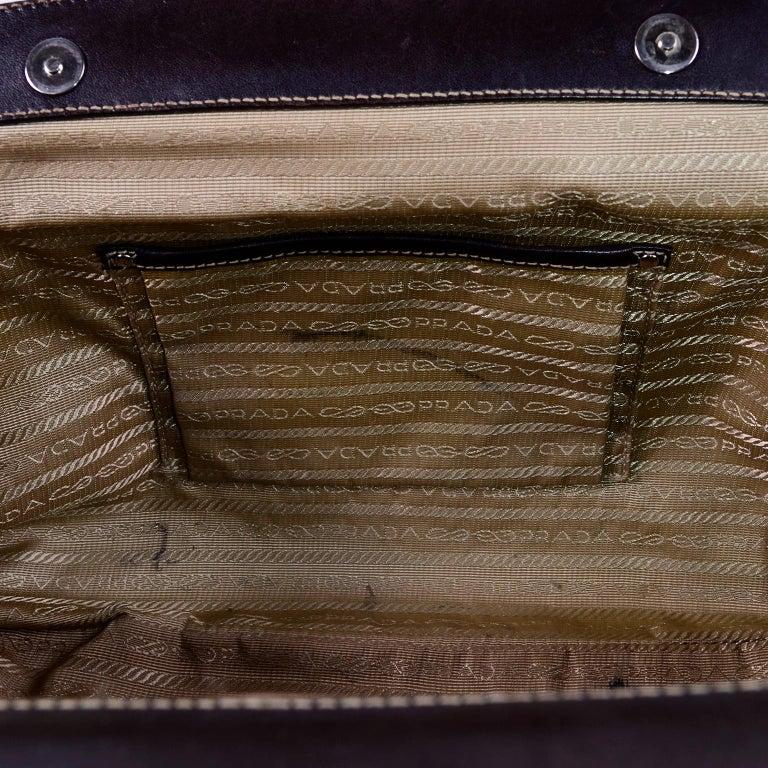 Prada Brown Jacquard Canvas and Leather Doctor Style Handbag For Sale 1