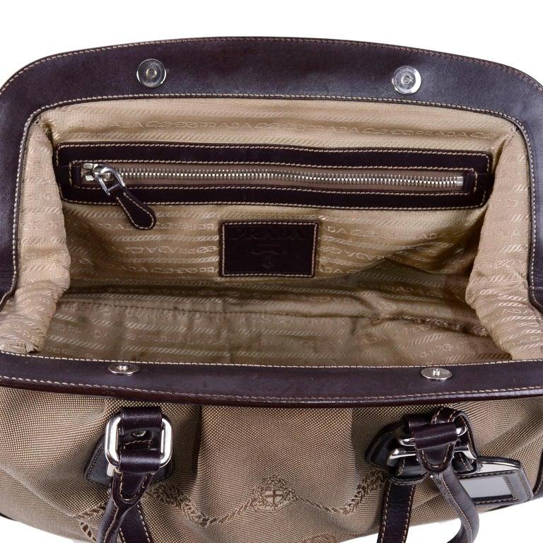 Prada Brown Jacquard Canvas and Leather Doctor Style Handbag For Sale 2