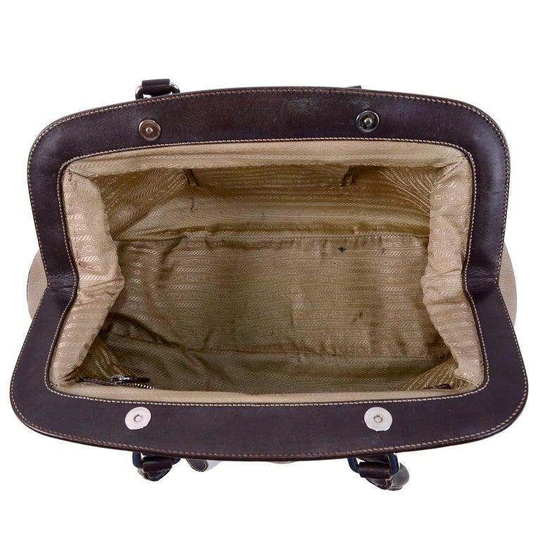 Prada Brown Jacquard Canvas and Leather Doctor Style Handbag For Sale 3