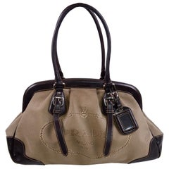 Prada Brown Jacquard Canvas and Leather Doctor Style Handbag