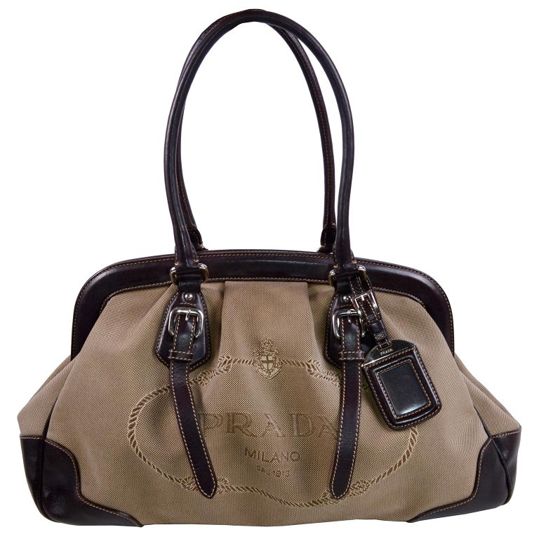 Prada Brown Jacquard Canvas And Leather Doctor Style Handbag For