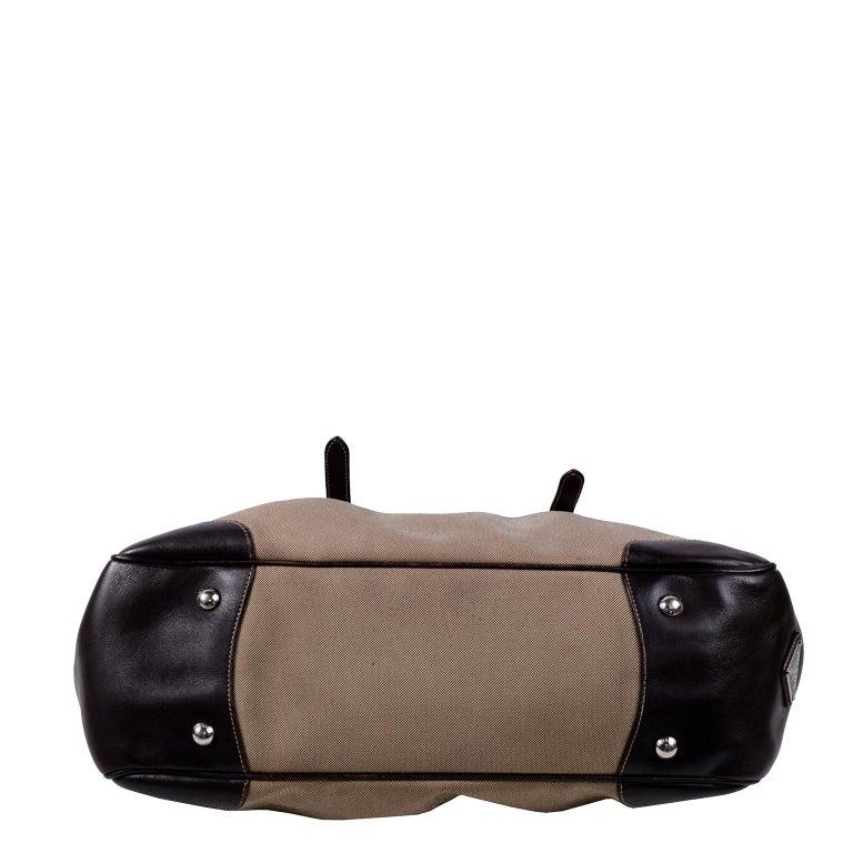Prada Brown Jacquard Canvas and Leather Doctor Style Handbag For Sale 4