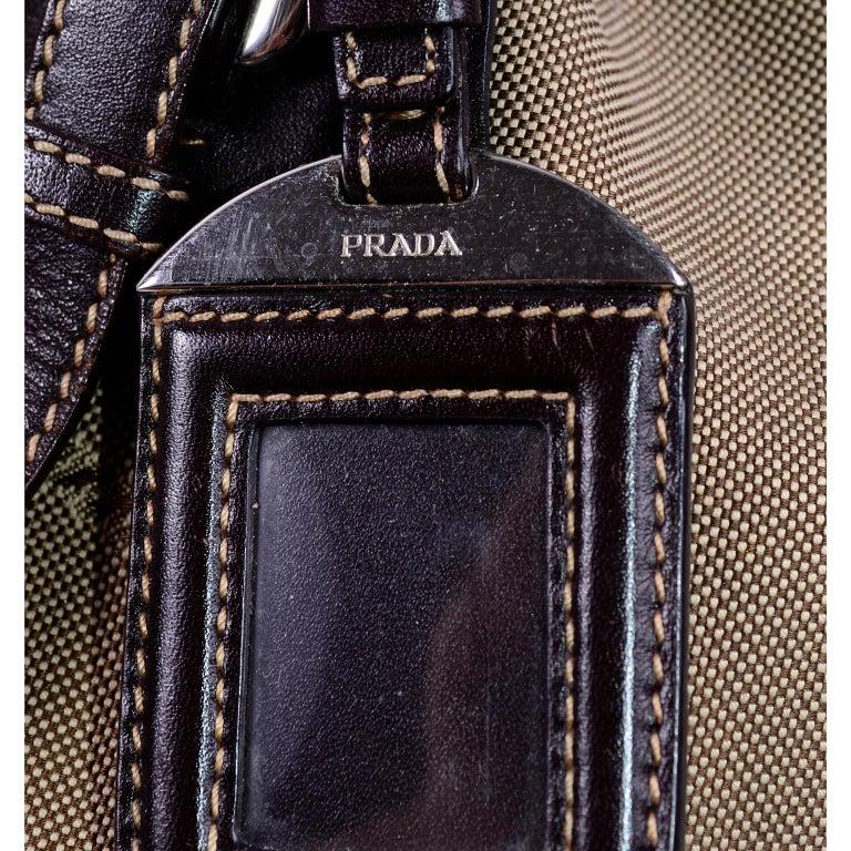 Prada Brown Jacquard Canvas and Leather Doctor Style Handbag For Sale 5