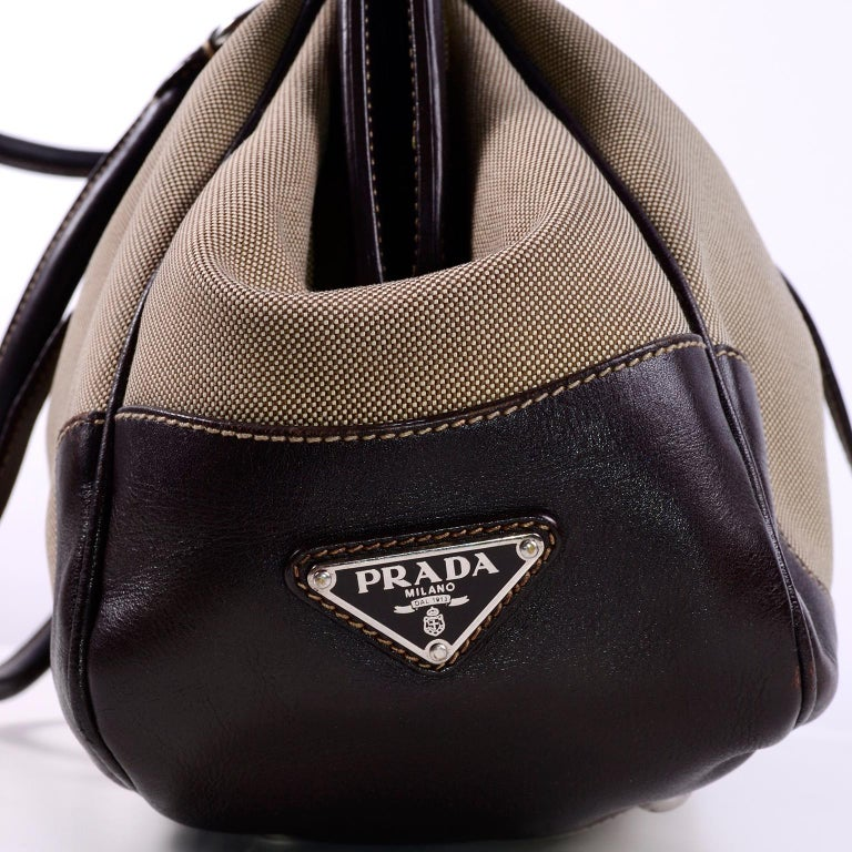 Black Prada Brown Jacquard Canvas and Leather Doctor Style Handbag For Sale