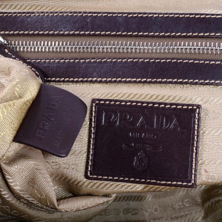 Prada Brown Jacquard Canvas and Leather Doctor Style Handbag For Sale 6