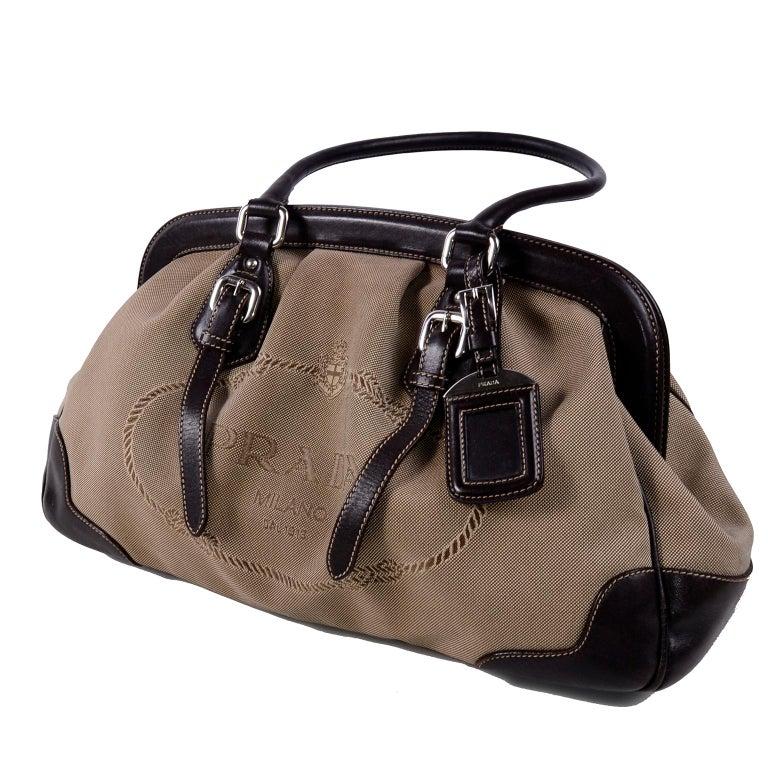 Prada Brown Jacquard Canvas And Leather Doctor Style Handbag For 7