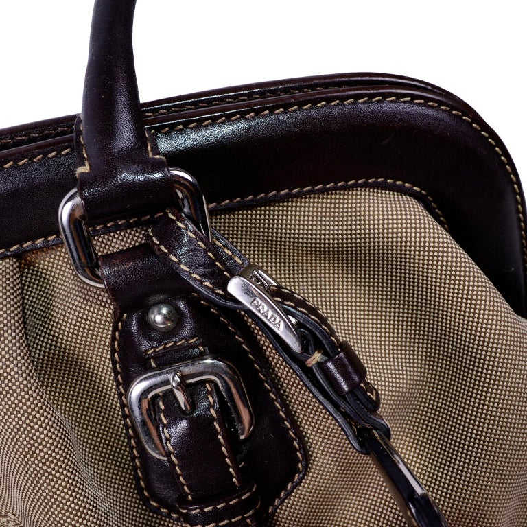Prada Brown Jacquard Canvas and Leather Doctor Style Handbag In Excellent Condition For Sale In Portland, OR