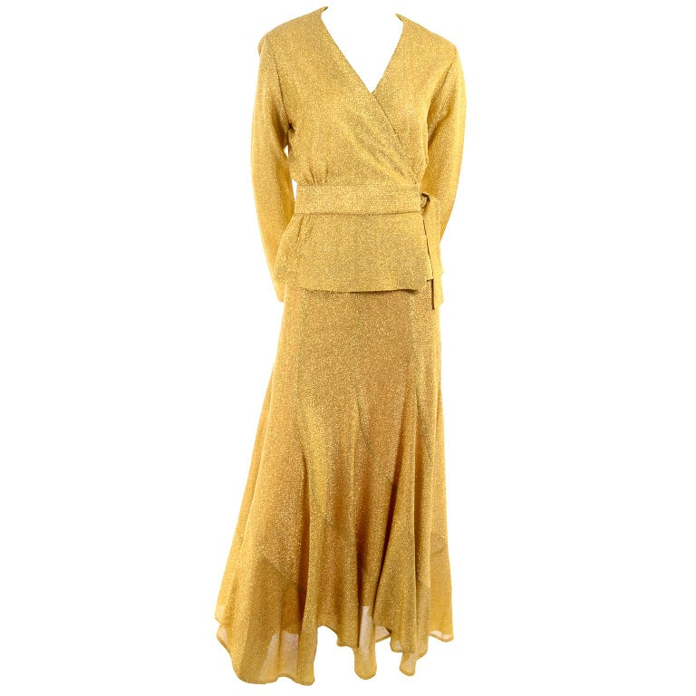 Beverly Paige Gold Lurex Evening Dress 2 pc With Long Bias Cut Skirt, 1970s In Excellent Condition For Sale In Portland, OR