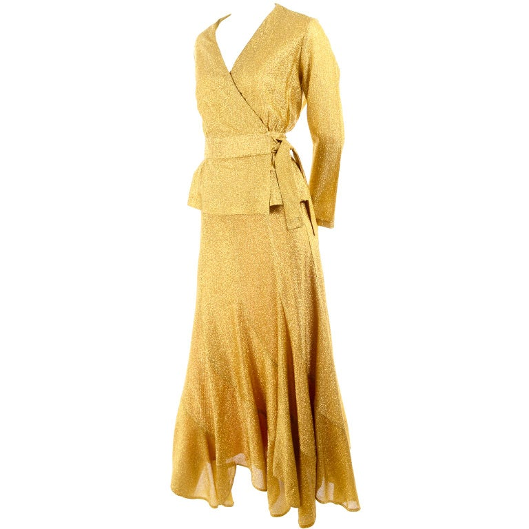 Beverly Paige Gold Lurex Evening Dress 2 pc With Long Bias Cut Skirt, 1970s For Sale 5