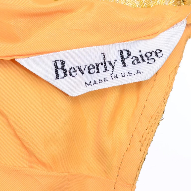 Beverly Paige Gold Lurex Evening Dress 2 pc With Long Bias Cut Skirt, 1970s For Sale 2