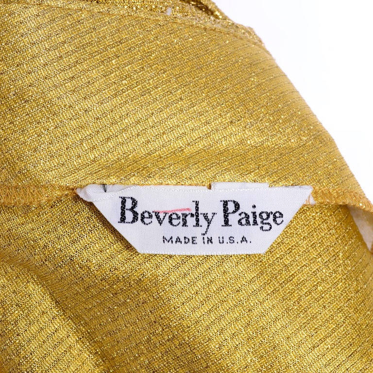 Beverly Paige Gold Lurex Evening Dress 2 pc With Long Bias Cut Skirt, 1970s For Sale 3