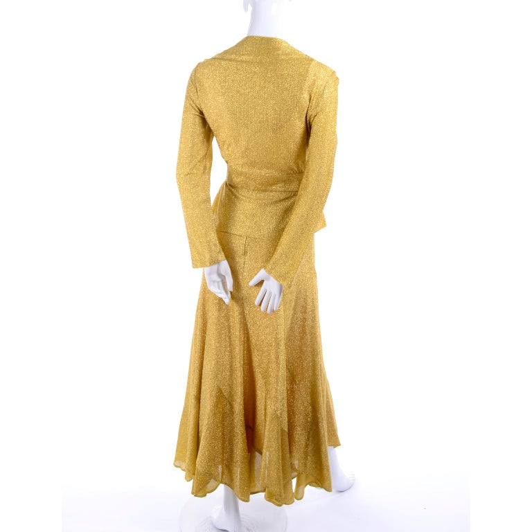 Women's Beverly Paige Gold Lurex Evening Dress 2 pc With Long Bias Cut Skirt, 1970s For Sale