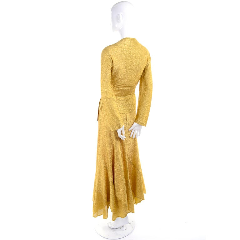 Beverly Paige Gold Lurex Evening Dress 2 pc With Long Bias Cut Skirt, 1970s For Sale 1