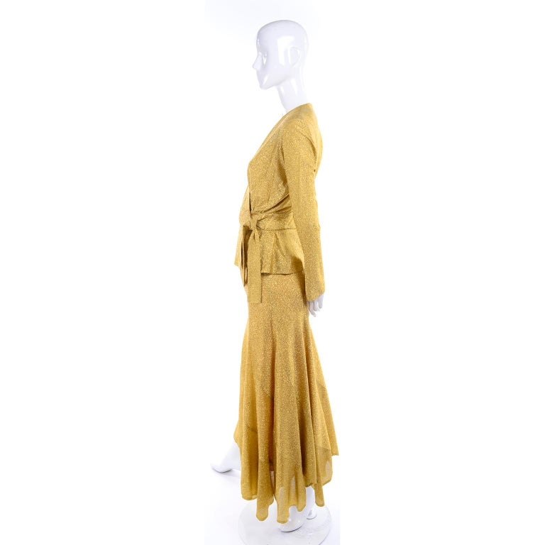 Beverly Paige Gold Lurex Evening Dress 2 pc With Long Bias Cut Skirt, 1970s For Sale 4