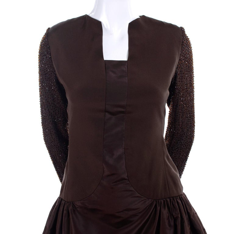 Women's Richilene Vintage Brown Silk and Taffeta Dress With Long Beaded Sleeves, 1980s For Sale