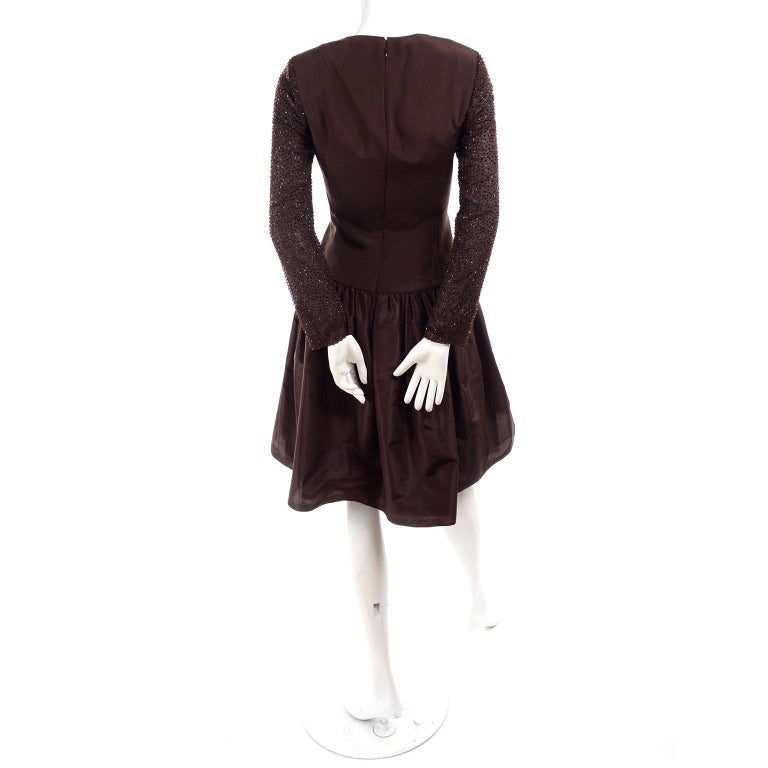 Richilene Vintage Brown Silk and Taffeta Dress With Long Beaded Sleeves, 1980s For Sale 1