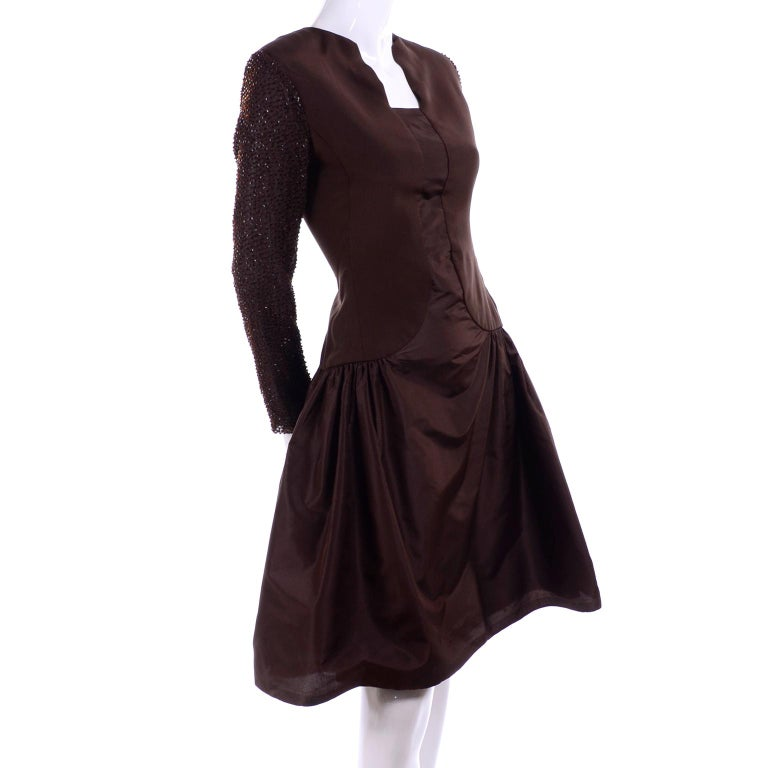 Richilene Vintage Brown Silk and Taffeta Dress With Long Beaded Sleeves, 1980s For Sale 5