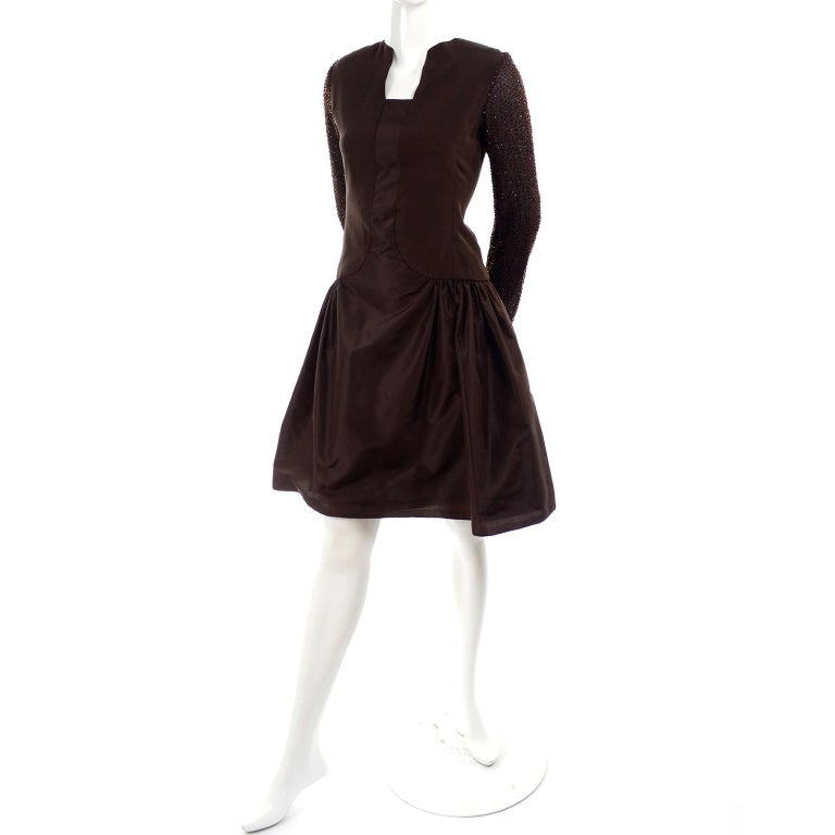 Richilene Vintage Brown Silk and Taffeta Dress With Long Beaded Sleeves, 1980s In Excellent Condition For Sale In Portland, OR