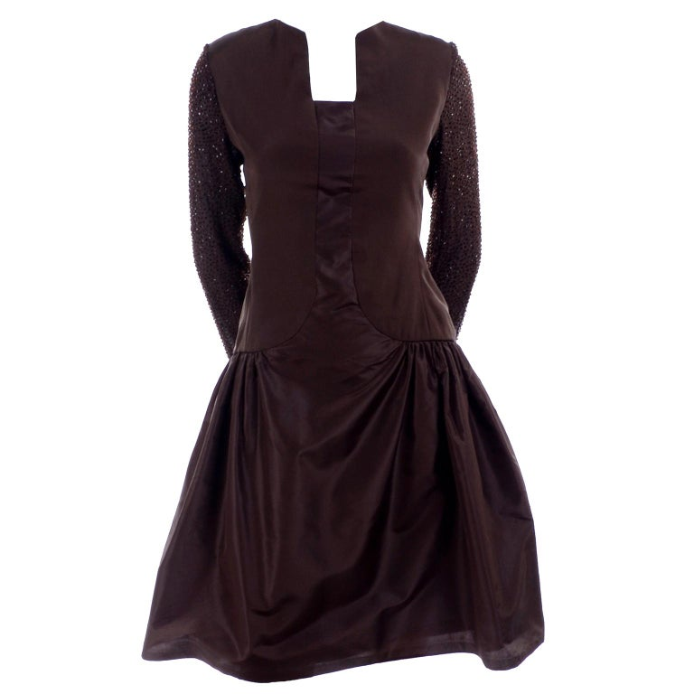 Black Richilene Vintage Brown Silk and Taffeta Dress With Long Beaded Sleeves, 1980s For Sale