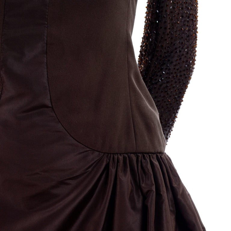 Richilene Vintage Brown Silk and Taffeta Dress With Long Beaded Sleeves, 1980s For Sale 2