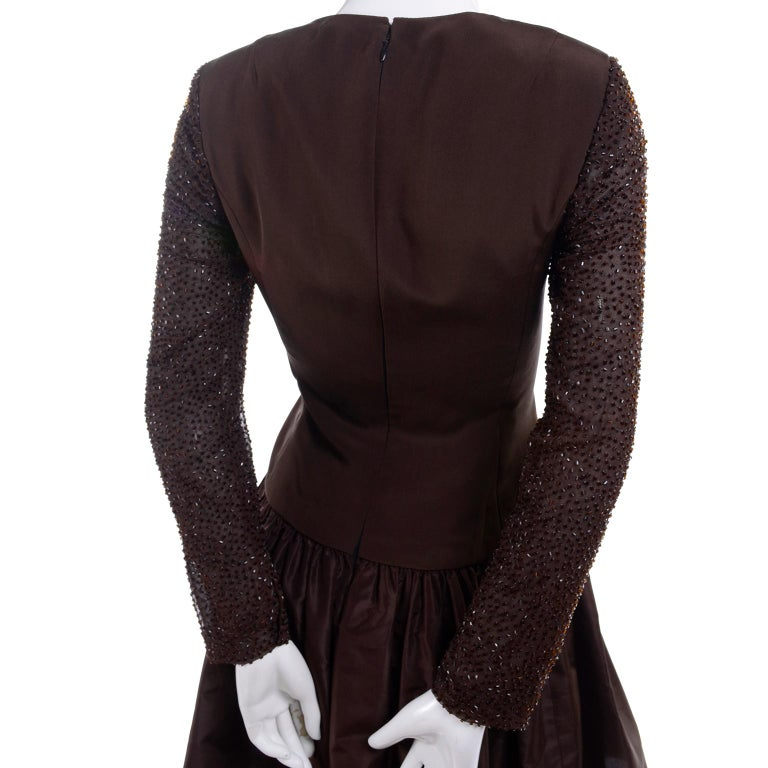 Richilene Vintage Brown Silk and Taffeta Dress With Long Beaded Sleeves, 1980s For Sale 3