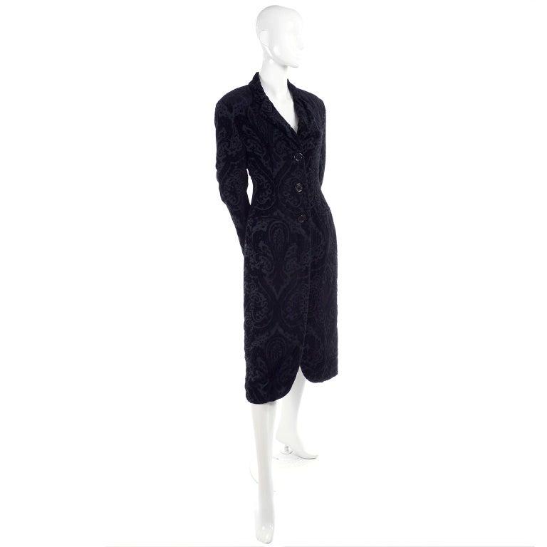 Black Dolce & Gabbana Cut Velvet Vintage Evening Coat For Sale
