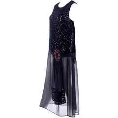 1920s Vintage Dress in Black Cut Velvet & Chiffon W/ Abstract Beaded Flower