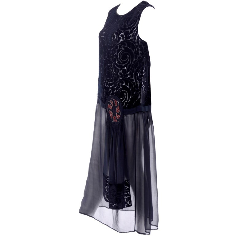 1920s Vintage Dress in Black Cut Velvet & Chiffon W/ Abstract Beaded Flower For Sale